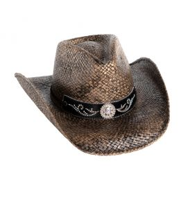 Straw Cowboy Hat with Rhinestone Concho