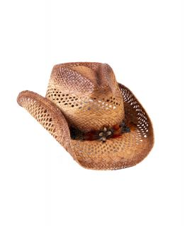 Straw Cowboy Hat with Feather Detail